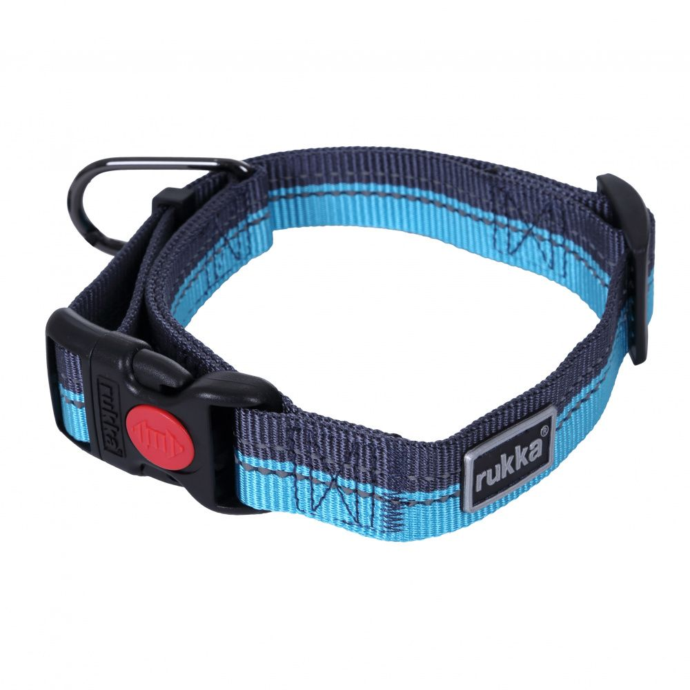Ошейник для собак RUKKA Beam 20мм/30-40см синий ошейник для собак rukka bliss collar 20мм 30 40см оранжевый