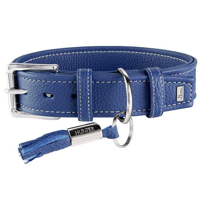 Ошейник для собак HUNTER Cannes 50 (34-42см)/2,8см натуральная кожа синий
