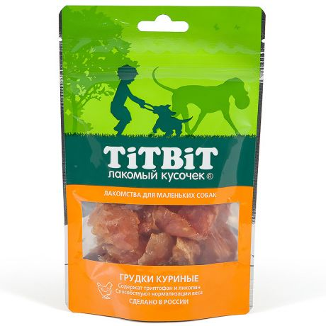 Лакомство для собак TITBIT Грудки куриные для мелких пород 50г