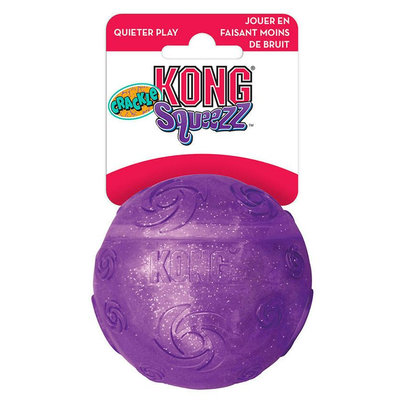 Игрушка для собак KONG Squezz Crackle хрустящий мячик большой 7см