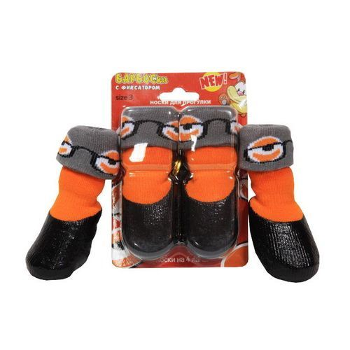 Носки для собак БАРБОСКИ для прогулки с фиксатором, оранжевые, размер 5