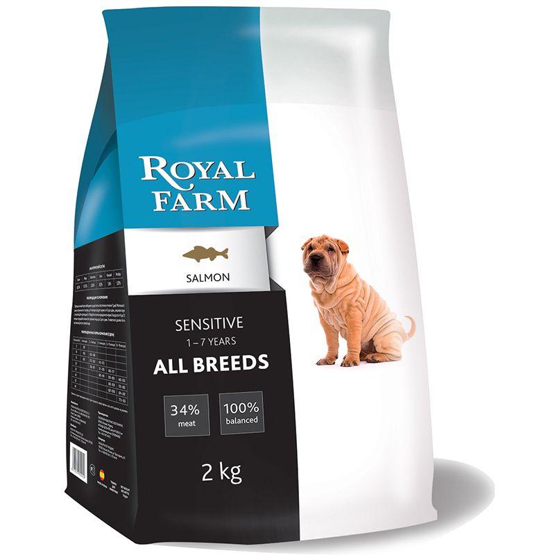 Корм для собак ROYAL FARM сенситив, лосось сух. 2кг