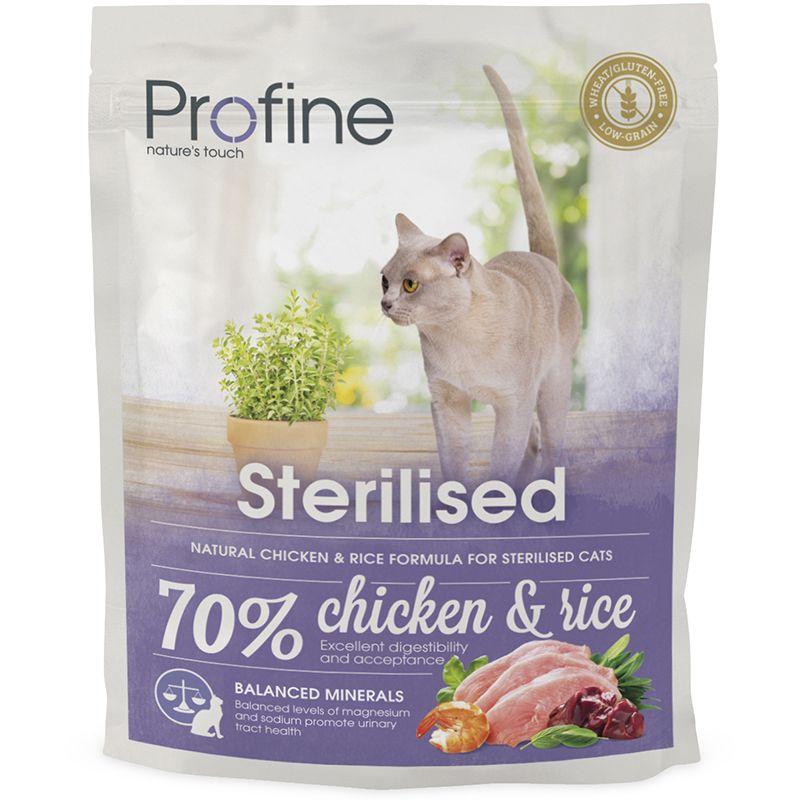 цена Корм для кошек PROFINE Sterilised для стерилизованных и кастрированных курица, рис сух. 300 г онлайн в 2017 году