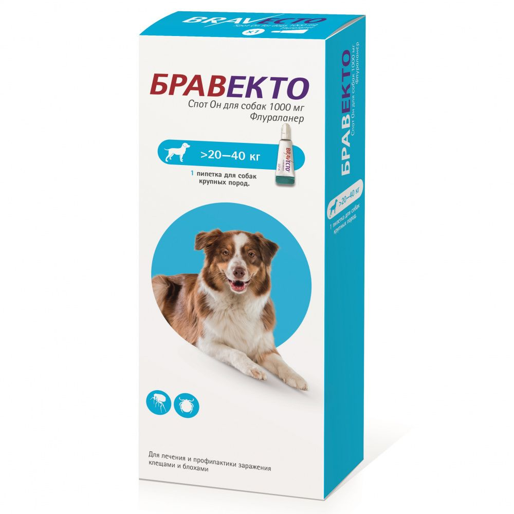 Капли для собак INTERVET Бравекто Spot On (20-40кг) 1000мг лоферы spot on spot on sp023awgsr70