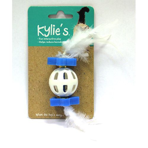 Игрушка для кошек CHOMPER Bright Шар пластиковый с пером цена