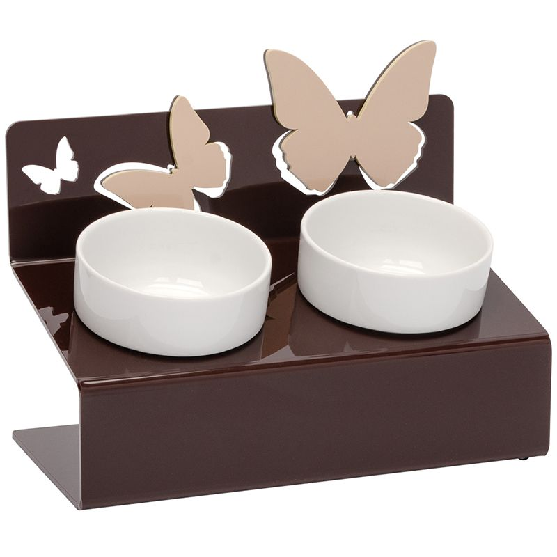 Миска для животных АртМиска Бабочки двойная на подставке, коричневая 2x360мл