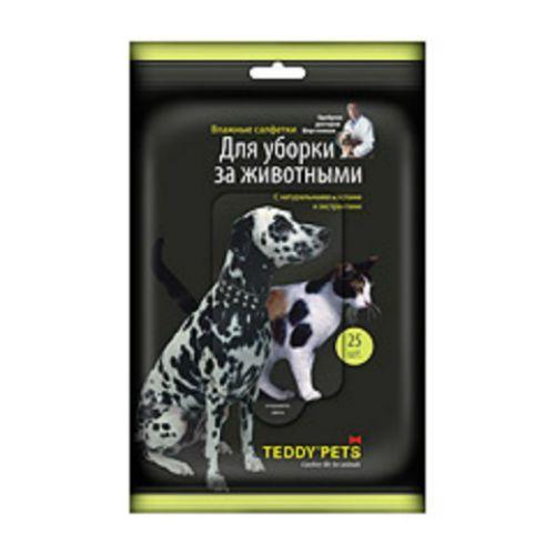 Салфетки для кошек и собак TEDDY PETS влажные, для уборки 25шт салфетки teddy pets влажные для ухода за глазами и ушами для кошек и собак