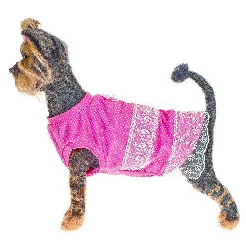Платье для собак HAPPY PUPPY Шатель розовый 4 32см платье для собак happy puppy шатель синий 3 28см