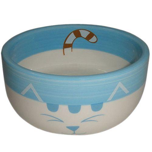 Миска для животных Foxie Blue Cat голубая керамическая 11,5х11,5х5см 320мл