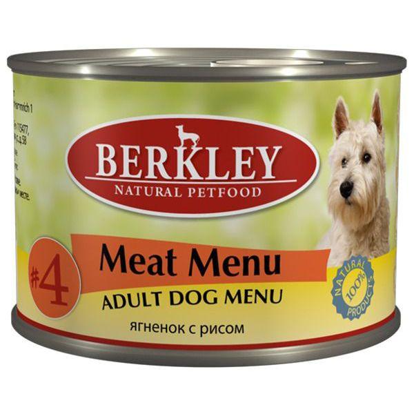 Корм для собак BERKLEY №4 ягнёнок с рисом конс. 200г сэмпер сок яблочный с 4 мес 200г