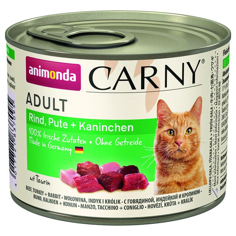 Корм для кошек Animonda Carny Adult индейка, кролик конс. 200г корм для котят animonda carny kitten курица кролик конс 200г