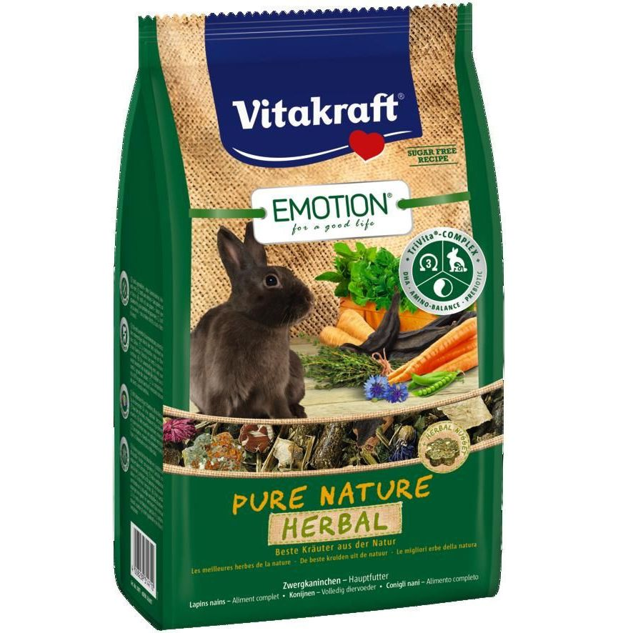 Корм для кроликов VITAKRAFT Pure Nature Herbal корм для морских свинок vitakraft pure nature herbal 600 г