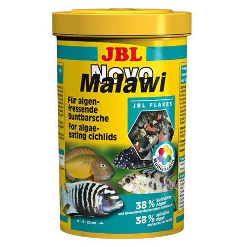 Корм для рыб JBL NovoMalawi Корм в форме хлопьев для растительноядных цихлид 250мл. (38г) корм для рыб jbl novogranocolor основной в форме гранул для яркой окраски рыб в банке 250мл 120г