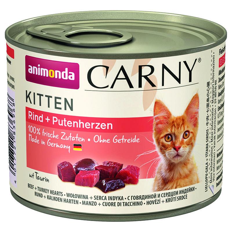 Корм для котят Animonda Carny Kitten говядина, сердце индейки конс. 200г корм для котят animonda carny kitten курица кролик конс 200г