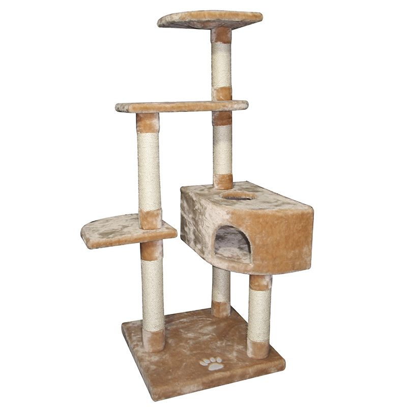 цена Дом-когтеточка для кошек Foxie трехуровневый угловой 50х50х140см бежевый онлайн в 2017 году
