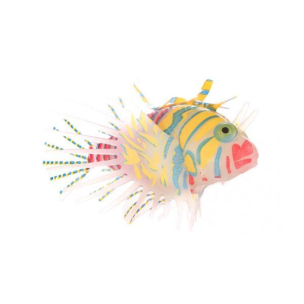 Декор для аквариумов JELLYFISH Рыба-лев цветная силиконовая, светящаяся в темноте, большая, 12х8х4см
