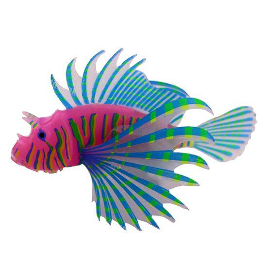 Декор для аквариумов JELLYFISH Рыба-лев цветная силиконовая, светящаяся в темноте,мал. 10х8х2,5см