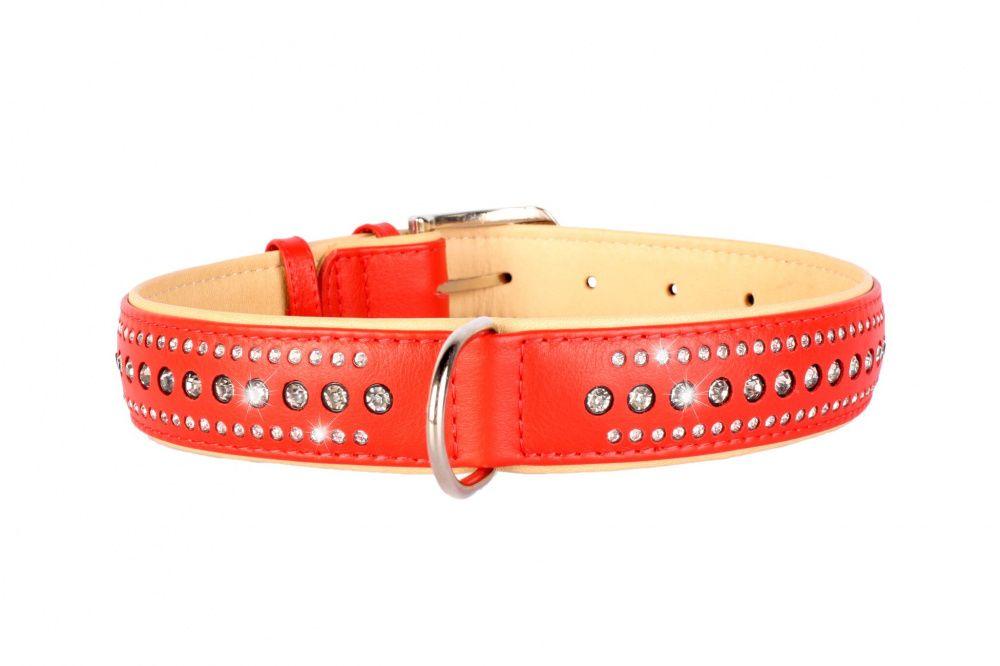 Ошейник для собак COLLAR Brilliance со стразами маленькими ширина 20мм длина 30-39см красный podium ошейник со стразами