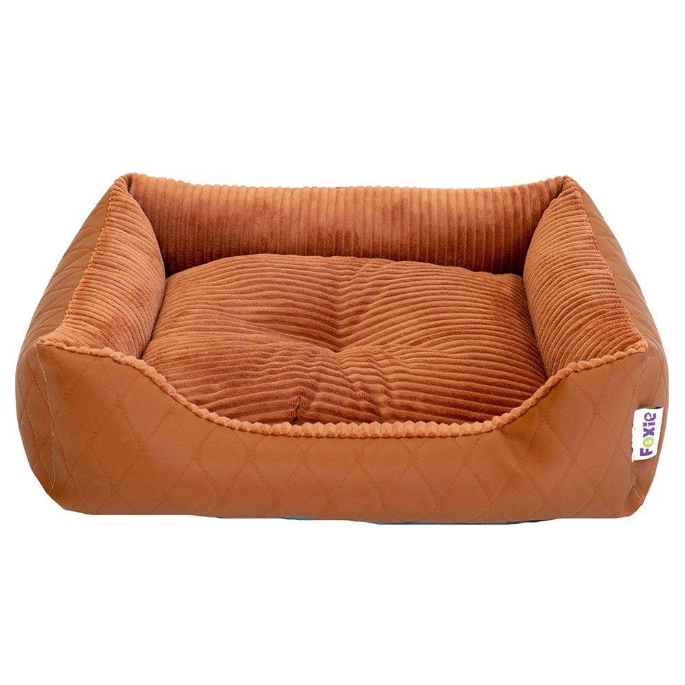 Лежак для животных Foxie Leather 60х50х18см оранжевый недорого