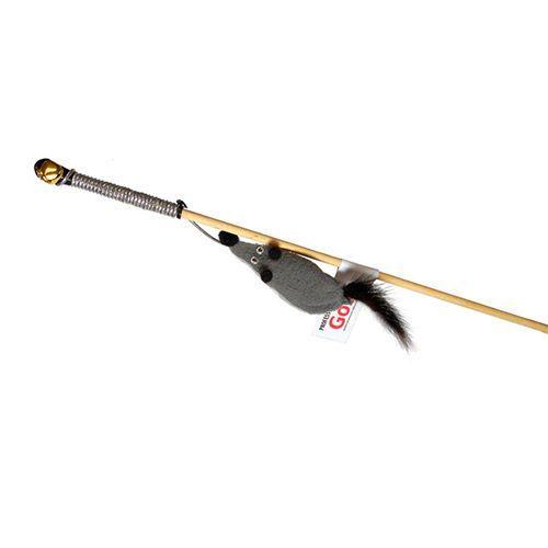 Игрушка для кошек GoSi Дразнилка Мышь с норковым хвостом на веревке на картоне с еврослотом