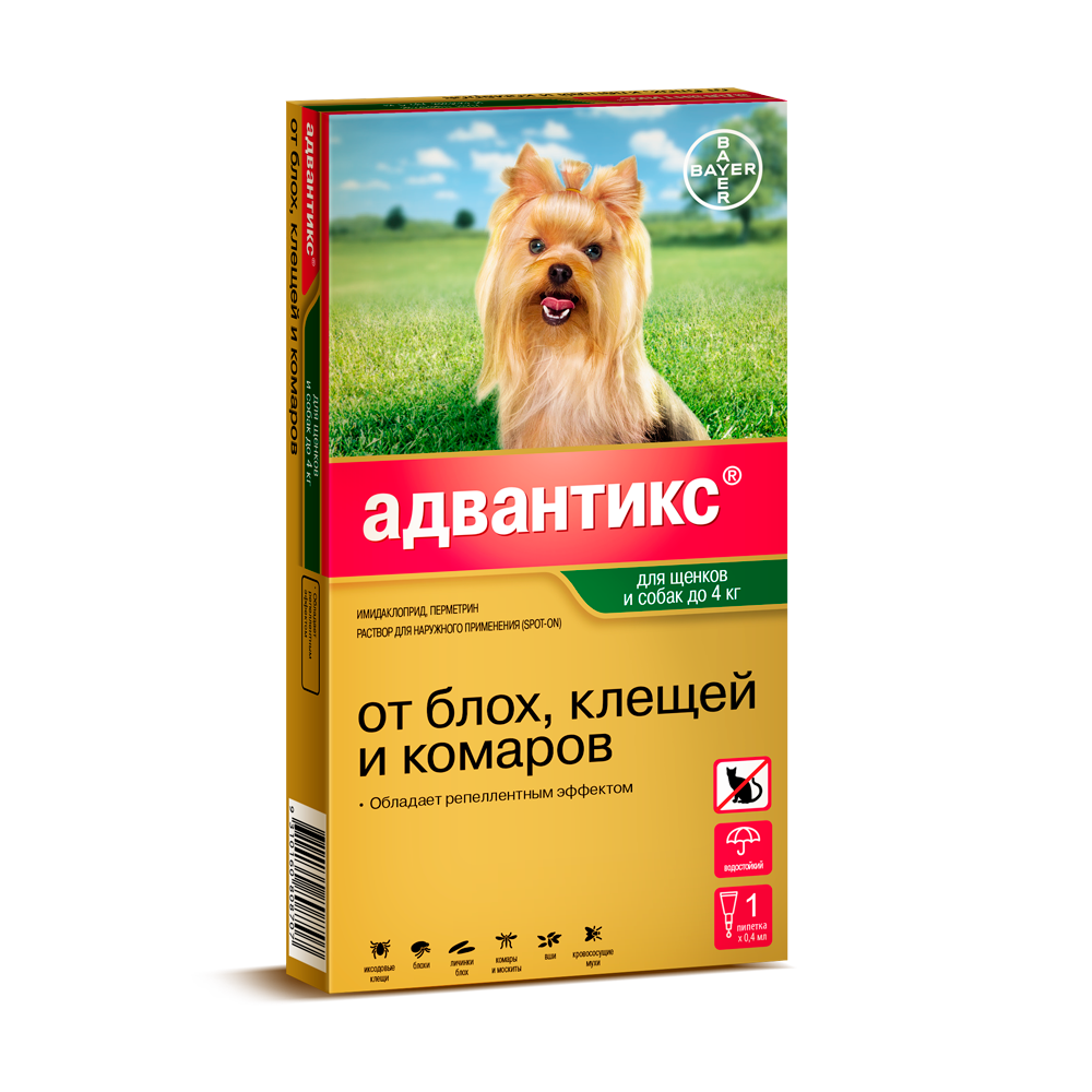 Капли для собак BAYER ADVANTIX от блох, клещей, комаров 40 (до 4 килограмм веса) цена и фото