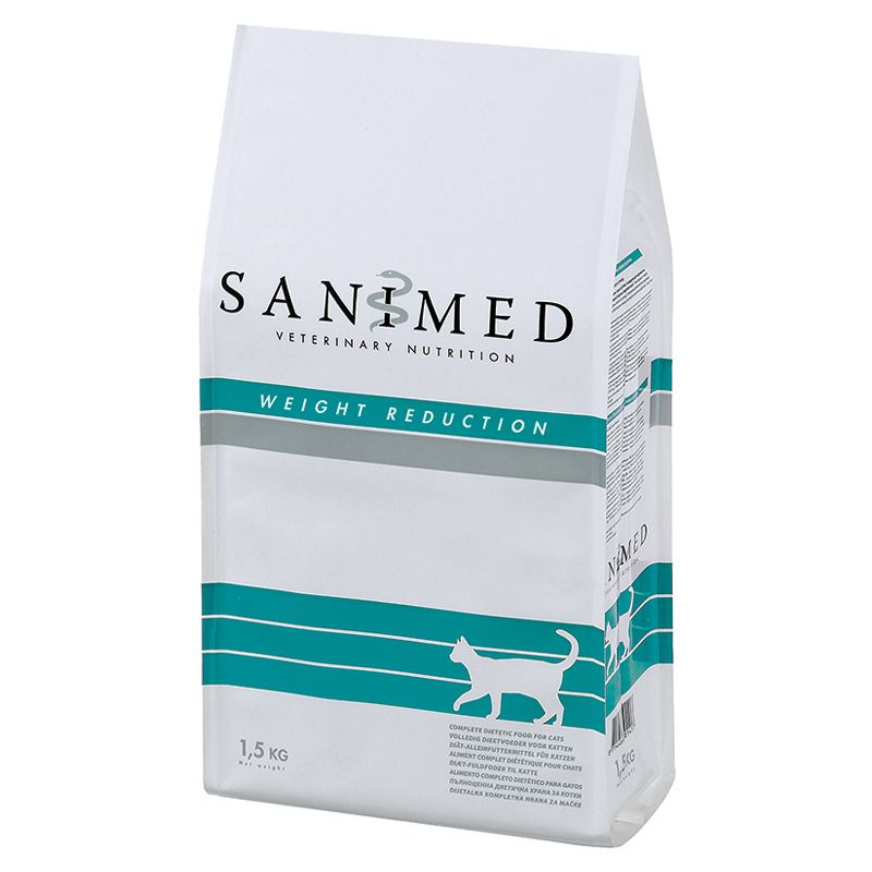 Корм для кошек SANIMED cat Weight Reduction при ожирении сух. 1,5кг корм для собак sanimed dog skin sensitive при пищевой аллергии сух 12 5кг