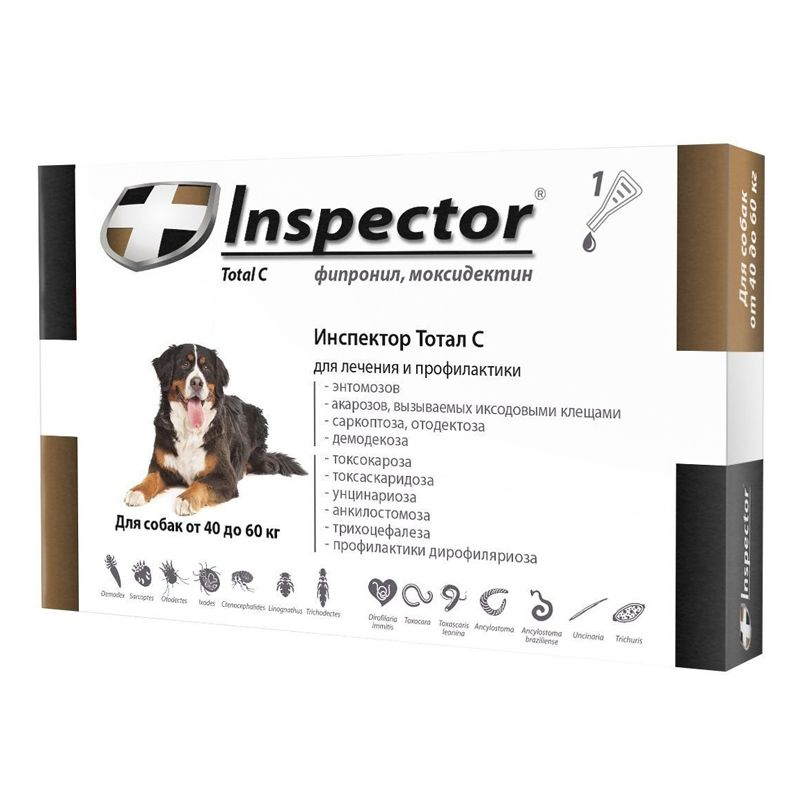 Капли для собак INSPECTOR от внешних и внутренних паразитов от 40 до 60кг inspector inspector тотал к капли для кошек от 8 до 15 кг от внешних и внутренних паразитов 1 пипетка
