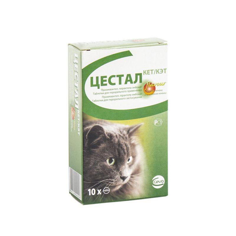 Антигельминтик для кошек CEVA Цестал Кэт со вкусом печени, 10 шт