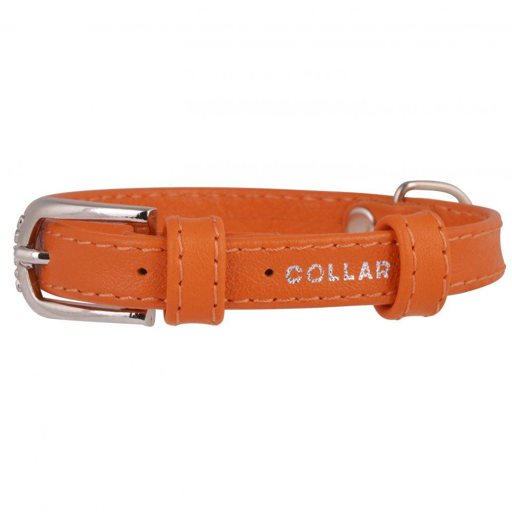 Ошейник для собак COLLAR Glamour без украшений 20мм 30-39см оранжевый