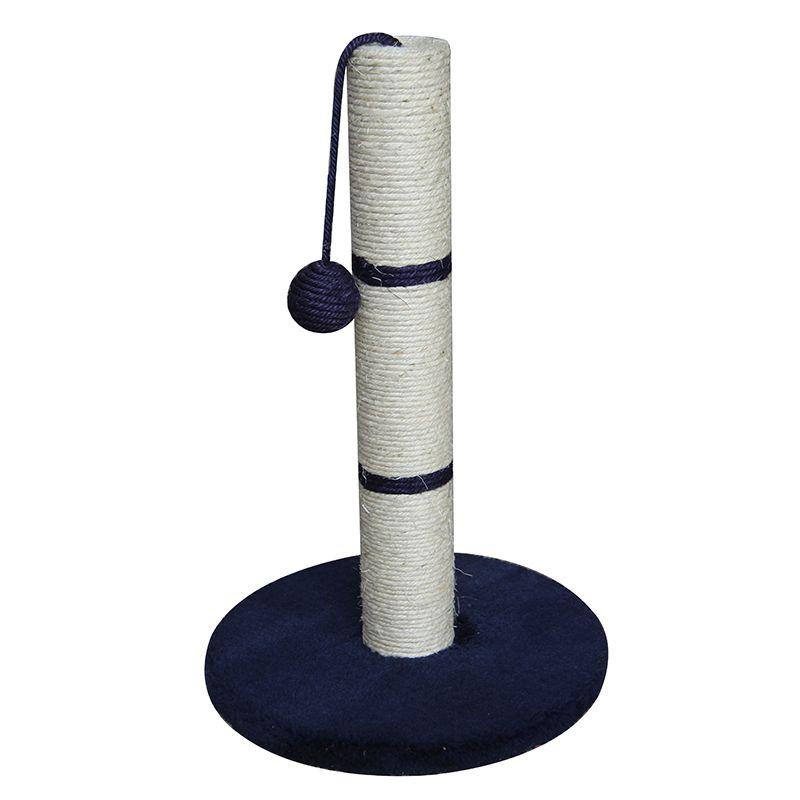 Когтеточка для кошек Foxie Столбик с игрушкой 30x30x50см синий