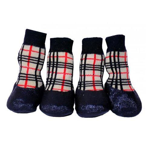 барбоски от морозки носки для прогулки прорезиненные с липучками цвет серый размер 2 Носки для собак БАРБОСКИ для прогулки, клетка размер S
