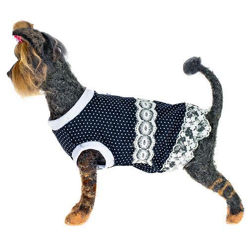 Платье для собак HAPPY PUPPY Шатель синий 4 32см шлейка для собак happy puppy шатель бежевая 1 20см