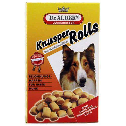 Лакомство для собак Dr. ALDER`s Knusper Rolls Хрустящее печенье с мясной начинкой 500г печенье dr alder s knusper rolls хрустящее с мясной начинкой для собак 500 г 500 г