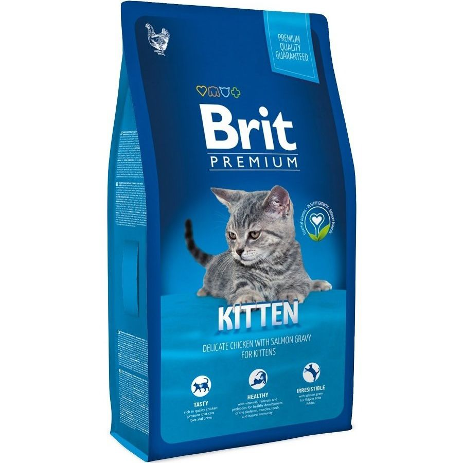 цена Корм для котят Brit Premium Cat Kitten курица в лососевом соусе сух. 800г онлайн в 2017 году