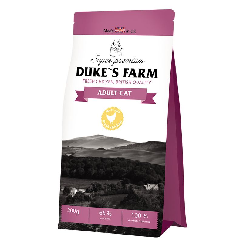 Корм для кошек DUKE'S FARM курица сух. 300г