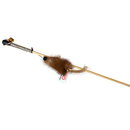 Игрушка для кошек GoSi Дразнилка Мышка на веревке на картоне с еврослотом