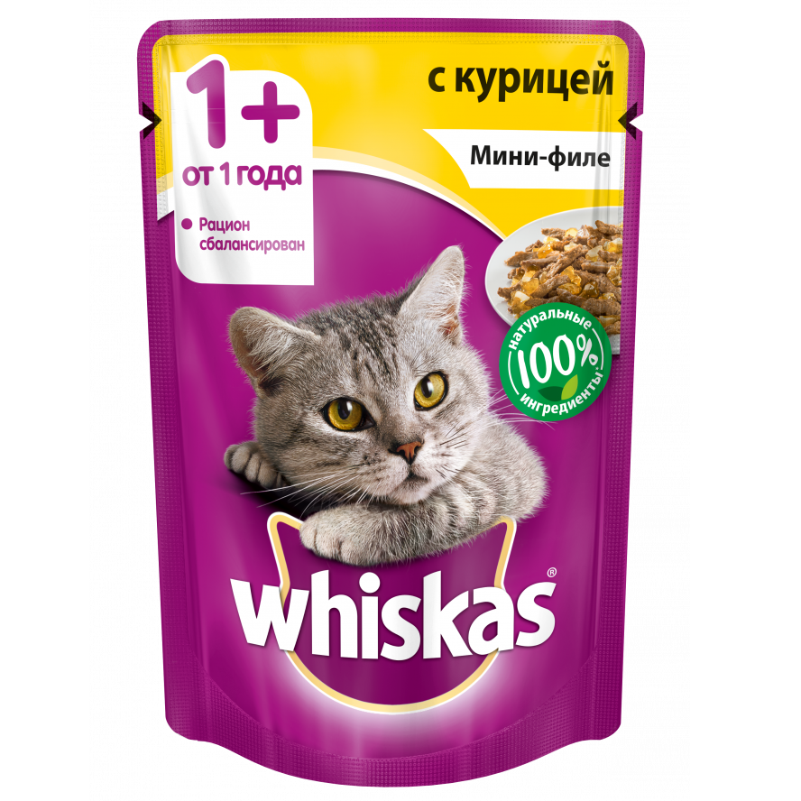 Корм для кошек Whiskas мини-филе курица желе конс. пауч 85г