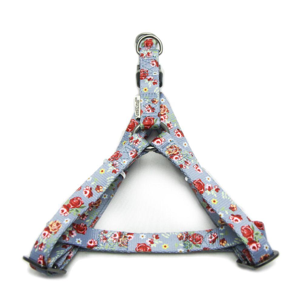 Шлейка для собак Great&Small с цветочным принтом 15мм (обхват 40-50см) голубая
