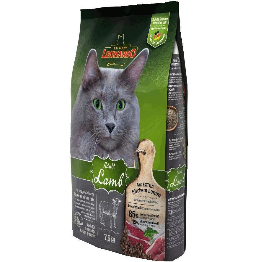 цена на Корм для кошек Leonardo для склонных к аллергии, ягненок с рисом сух. 7,5кг