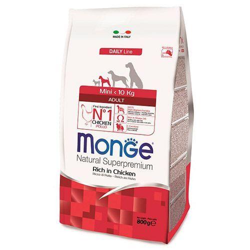 Корм для собак Monge Dog Mini корм для взрослых собак мелких пород сух. 800г happy dog сухой корм happy dog supreme sensible mini mоntana для взрослых собак мелких пород при пищевой аллергии и чувствительном пищеварении с кониной 4 кг