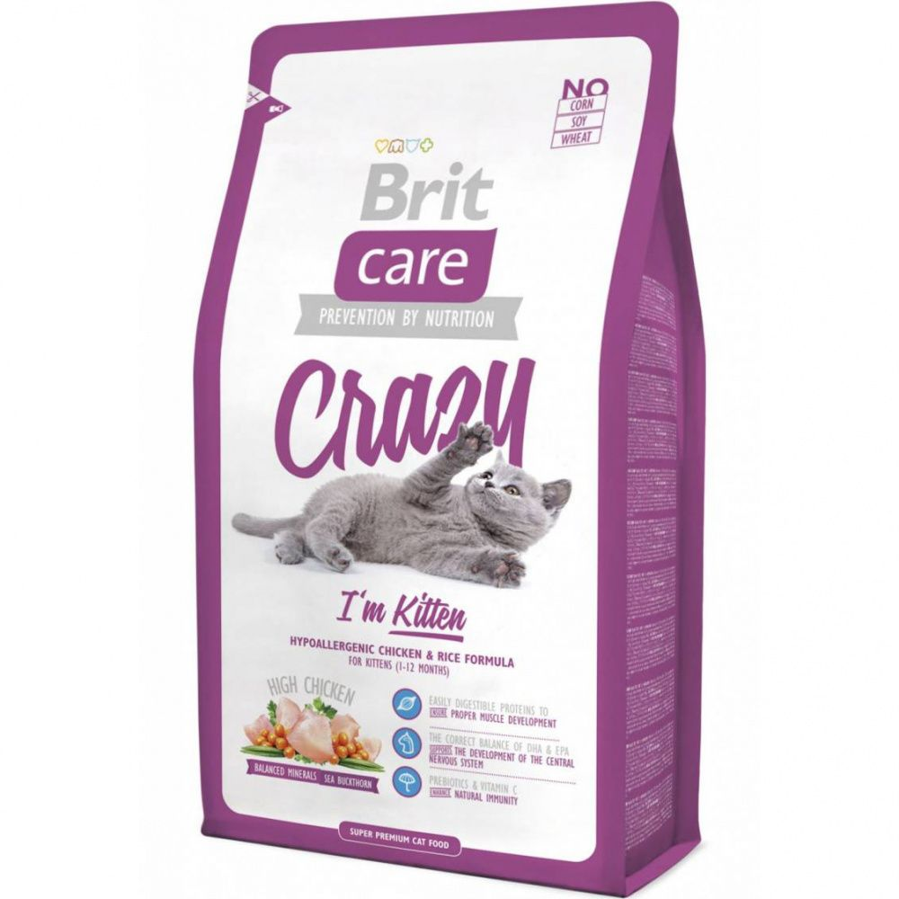 Корм для котят, беременных и кормящих кошек Brit Care Cat Crazy Kitten сух. 2кг
