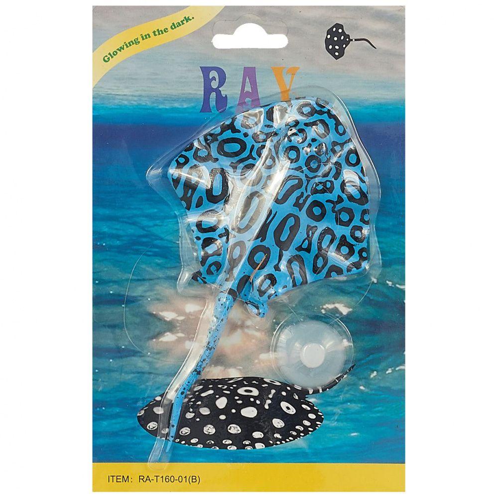 Декор для аквариумов JELLYFISH Рыба силиконовая Скат с неоновым эффектом черный 20х13см авиабилеты онлайн скат