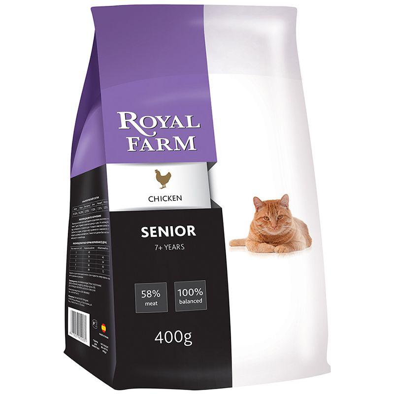 Корм для кошек ROYAL FARM для пожилых, курица сух. 400г