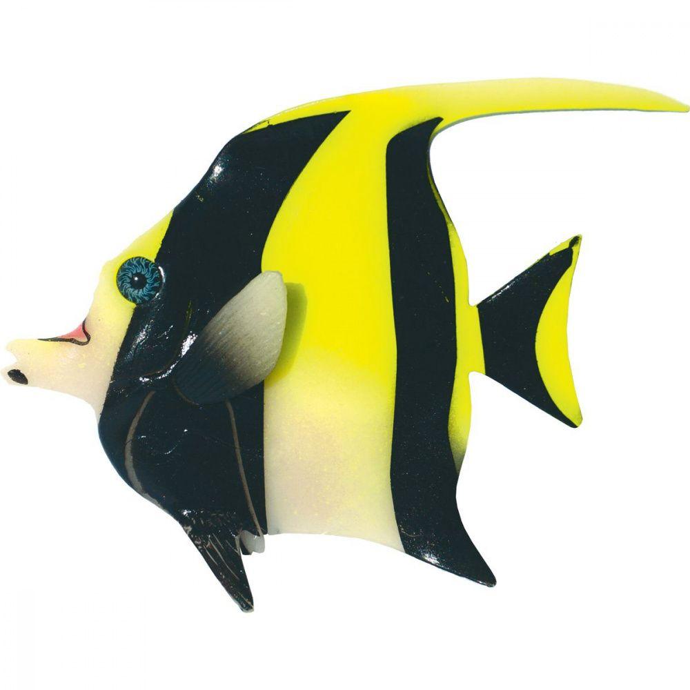 Декор для аквариумов JELLYFISH Мавританская Рыбка светящаяся желтый 16х13х2,2см