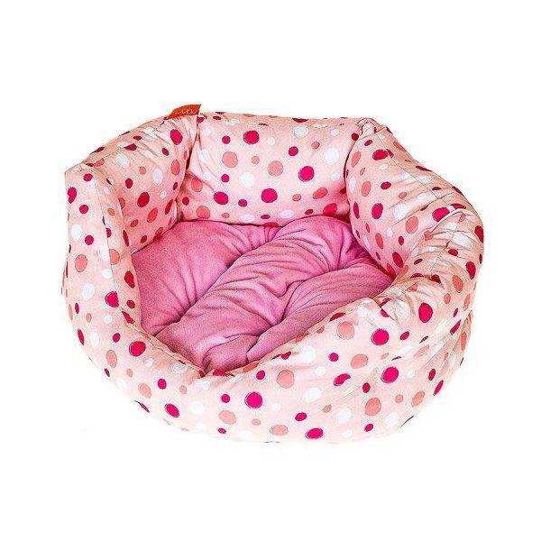 Лежак для собак Геометрия HAPPY PUPPY Горошек розовый-2 50х40х15см лежак для животных happy puppy русские сказки 2 48х39х15см