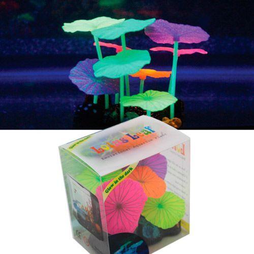 Декор для аквариумов JELLYFISH Микс из растений силикон (листья лотоса 5шт, грибы 4шт), 9х7х11см
