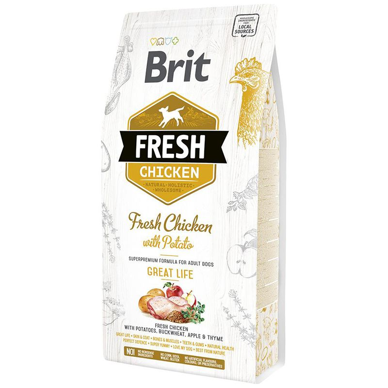 Корм для собак Brit Fresh Курица с картофелем сух. 2,5кг курица с яйцами