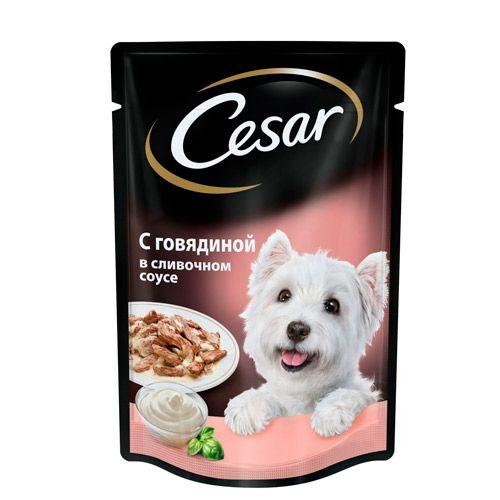 Корм для собак Cesar говядина в сливочном соусе конс. пауч 100г цена