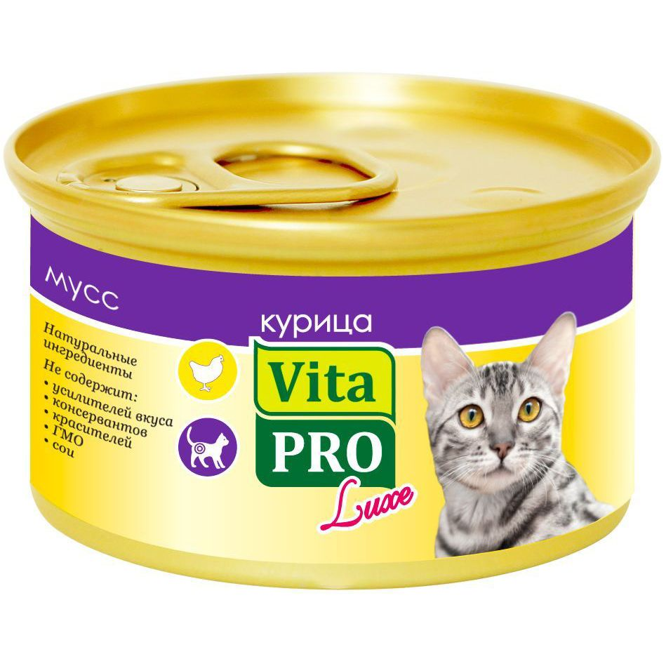 Корм для кошек VitaPRO Luxe для стерилизованных, курица мусс конс.  85г