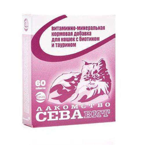 Кормовая добавка для кошек CEVA Севавит витаминно-минеральная с биотином и таурином 60таб